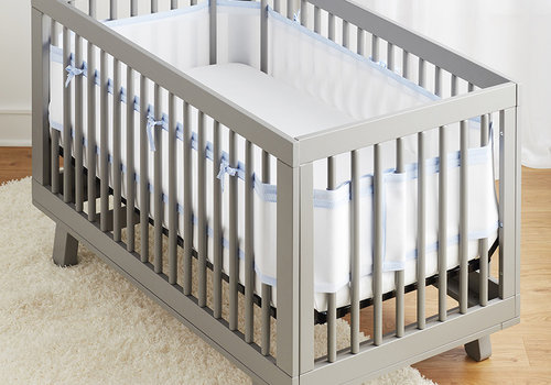 Breathable Baby Breathable Mesh Crib Liners In White-Lt Blue Seersucker