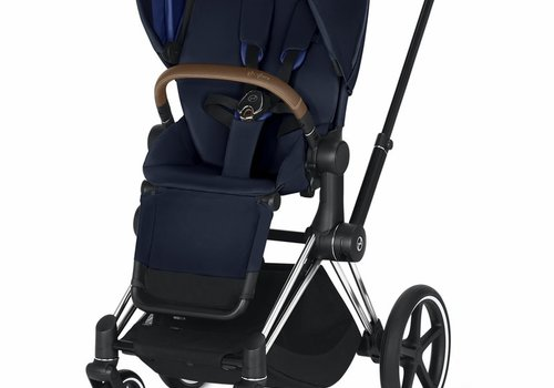 Cybex 2019 Cybex Priam 3 Complete Stroller - Chrome/Brown/Indigo Blue