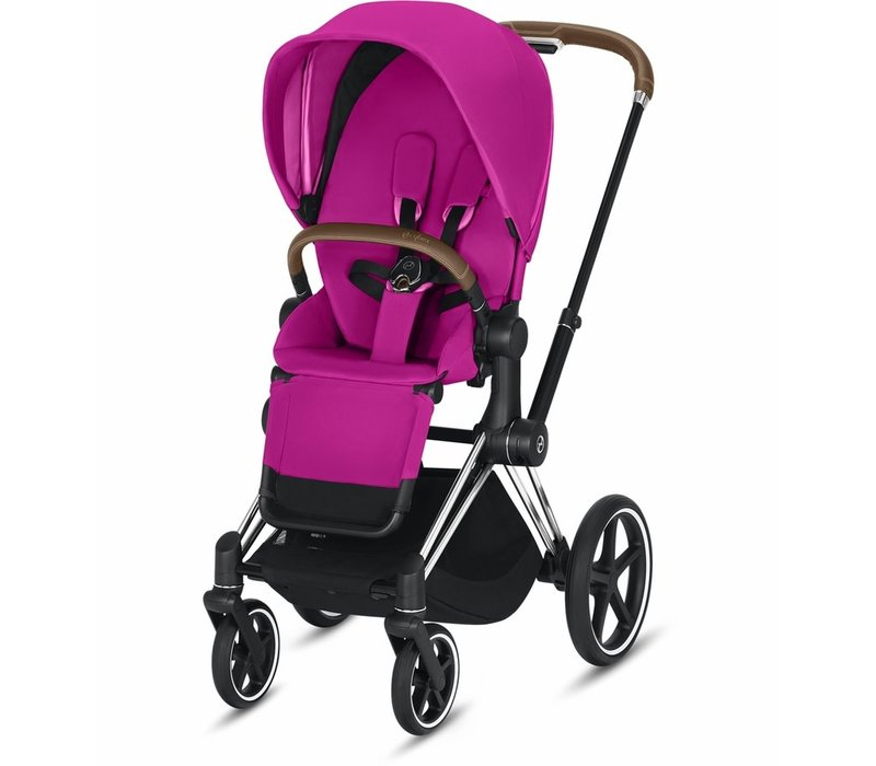 2019 Cybex Priam Complete Stroller - Chrome/Brown/Fancy Pink