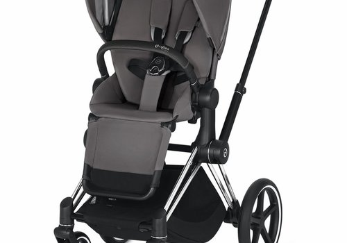 Cybex 2019 Cybex ePriam Chrome Black frame + Manhattan Grey Seat
