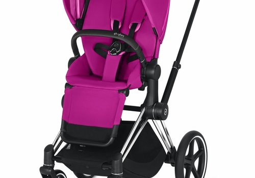 Cybex 2019 Cybex ePriam Chrome Black frame + Fancy Pink seat