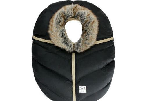 7 AM 7 A.M. Car Seat Cover - Cocoon In Black Faux Fur 0-12 Months