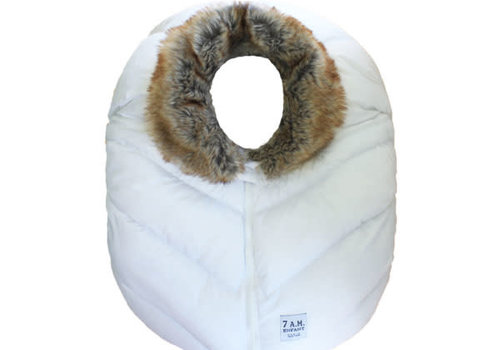 7 AM 7 A.M. Car Seat Cover - Cocoon In White Faux Fur 0-12 Months