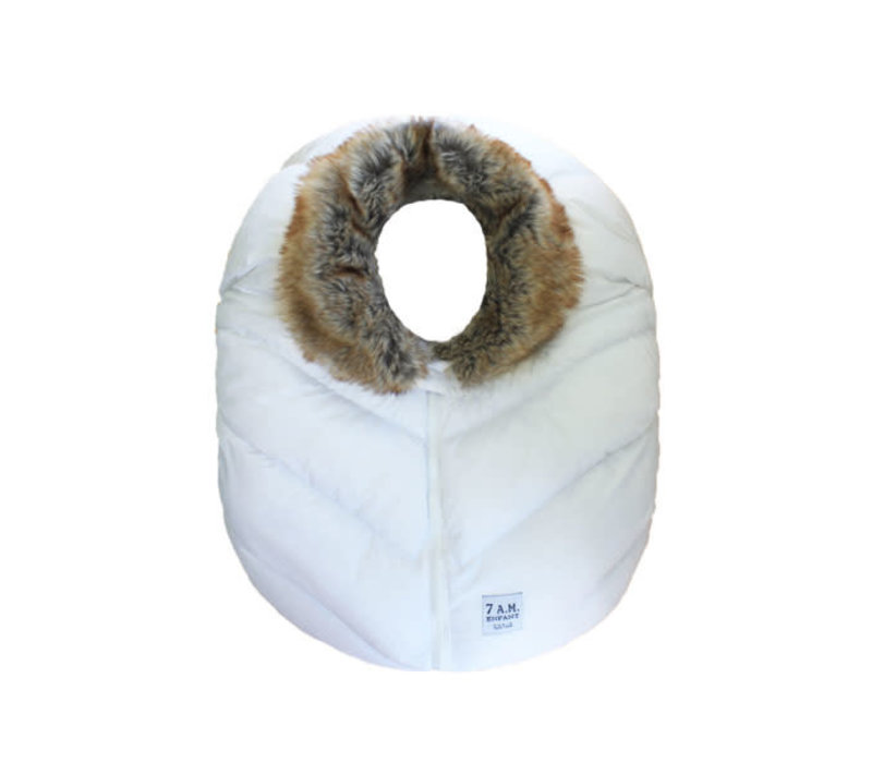 7 A.M. Car Seat Cover - Cocoon In White Faux Fur 0-12 Months