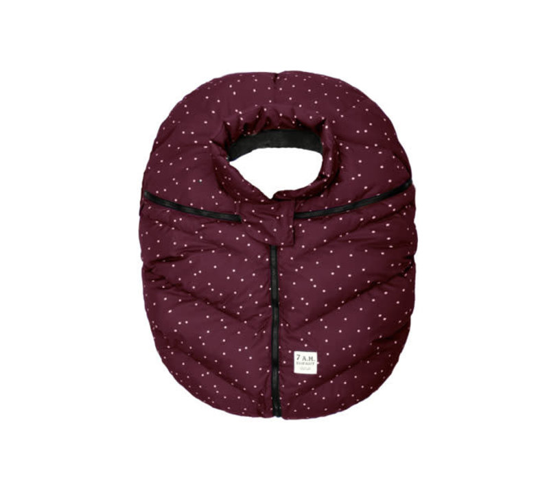 7 A.M. Car Seat Cover - Cocoon In Print Maroon Petit Pois 0-12 Months