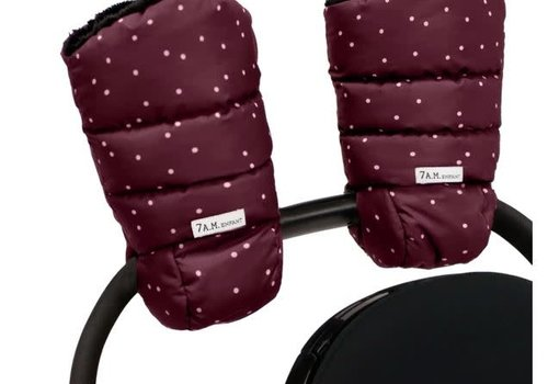 7 AM 7 A.M. Enfant Warmmuffs  In Print Maroon Petit Pois