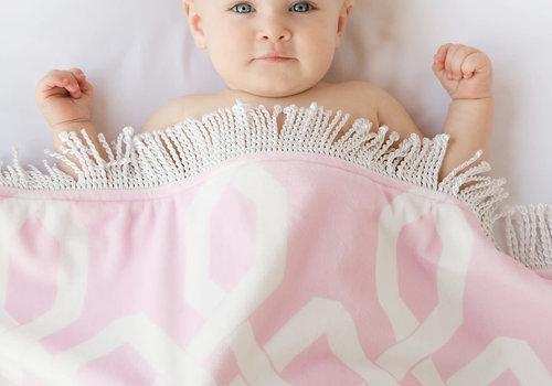 Little Giraffe Little Giraffe Bliss Windowpane Blanket in pink