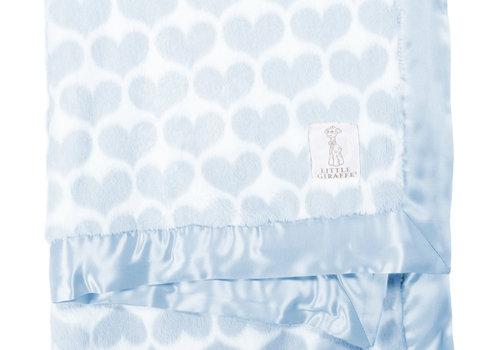 Little Giraffe Little Giraffe Luxe Heart Army Blanket In Blue