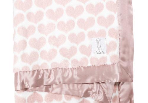 Little Giraffe Little Giraffe Luxe Heart Army Blanket In Dusty Pink
