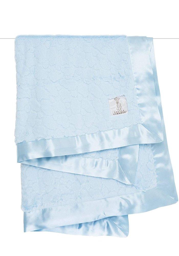 Little Giraffe Plush Luxe Solid Blanket In Blue