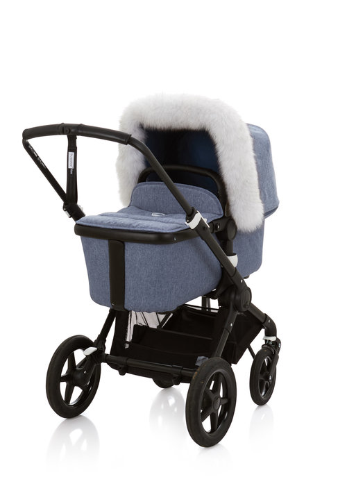Baby Frr Baby Frr Fur For Stroller In White With Black Tips (Natural Bl)