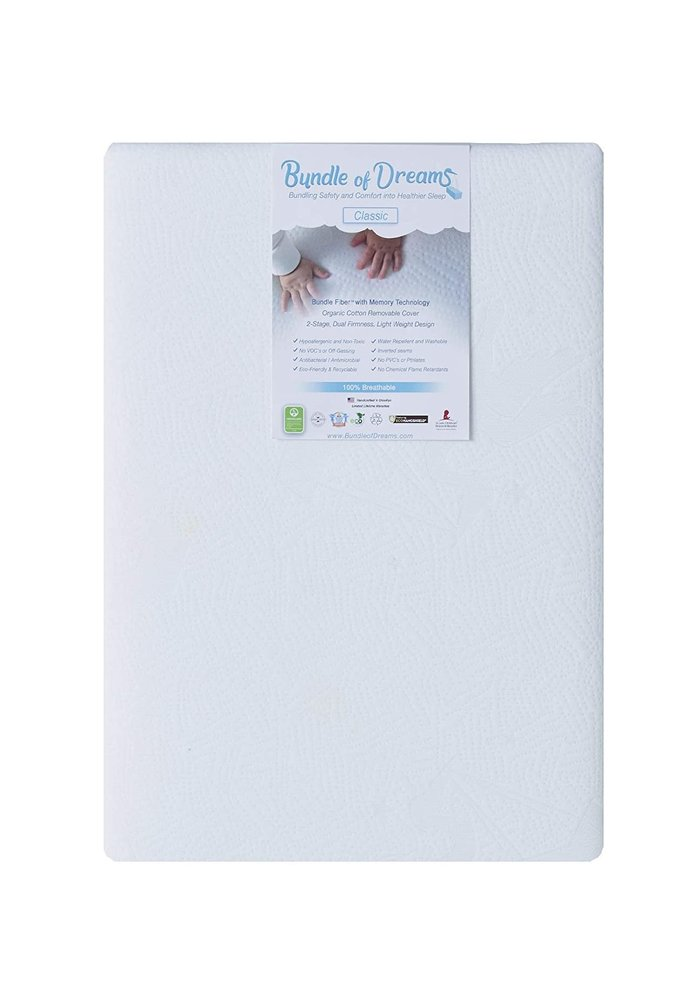 """Bundle of Dreams Flagship 5"""" 2 Stage Mini Crib Mattress, Organic, Breathable, Hypoallergenic, for Portable Cribs"""
