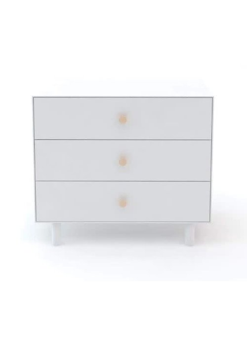 Oeuf Oeuf Fawn 3 Drawer Dresser In White With Birch Knobs
