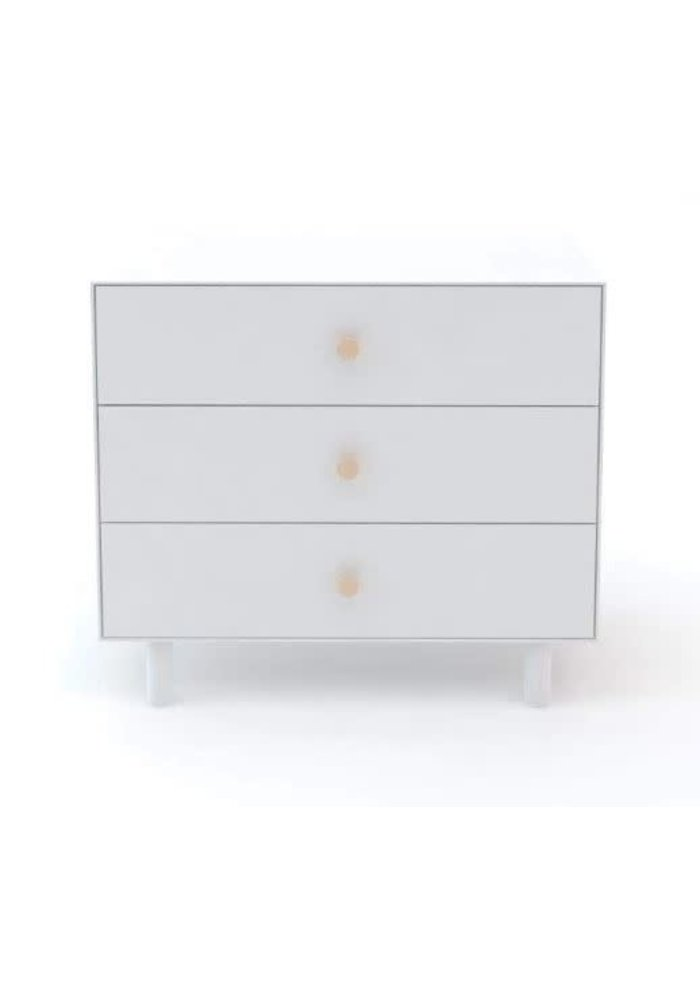 Oeuf Fawn 3 Drawer Dresser In White With Birch Knobs