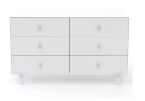 Oeuf Oeuf Fawn 6 Drawer Dresser In White/Birch Knobs