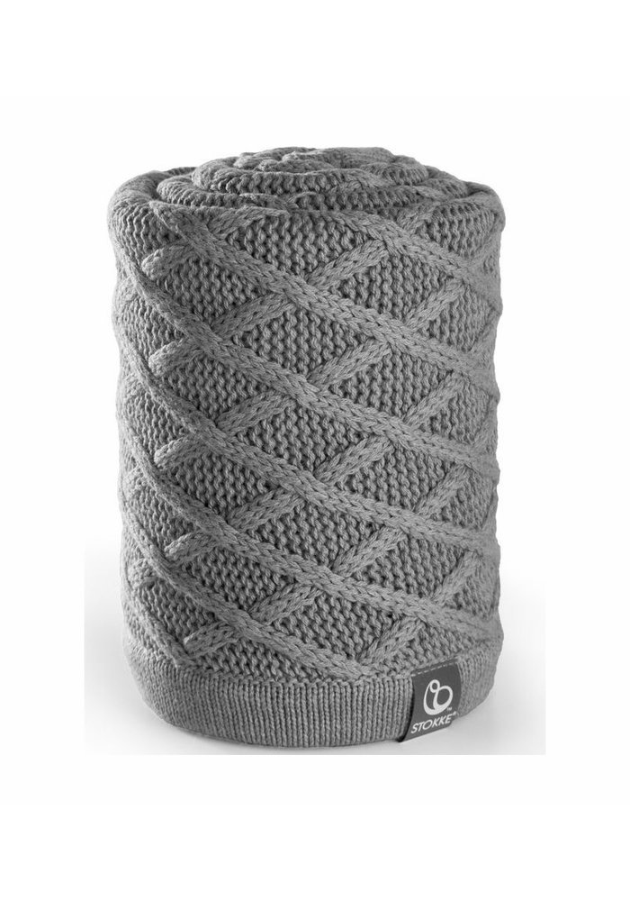 CLOSEOUT!! Stokke Stroller Knitted Blanket in Cable Grey