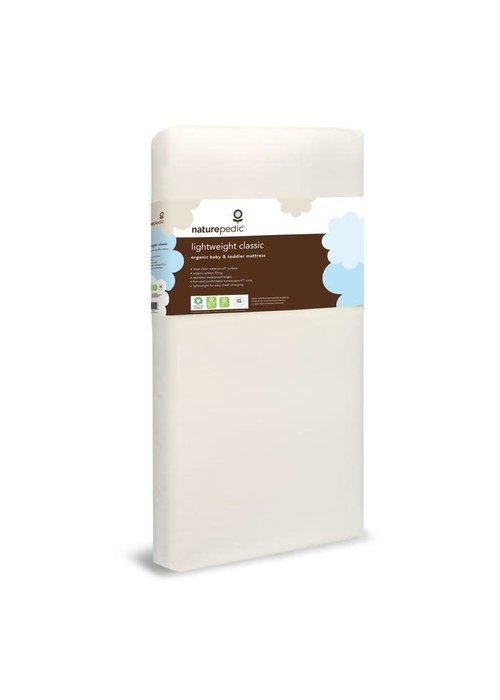 "Naturepedic Naturepedic Crib Mattress Organic Cotton Lightweight Classic 2-Stage 28"" x 52"" x 6"""