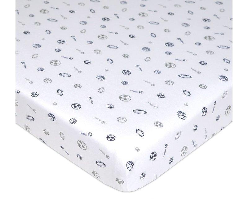 American Baby Knit Crib Sheet In Gray / Navy Sports