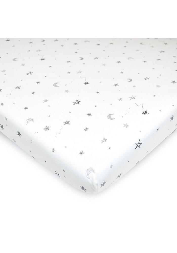 American Baby Knit Crib Sheet In Gray Stars & Moon