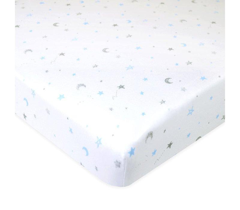 American Baby Knit Crib Sheet In Blue Stars & Moon
