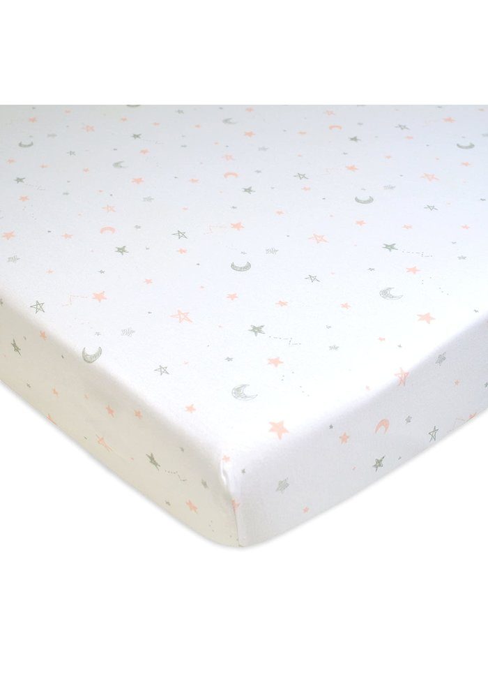 American Baby Knit Crib Sheet In Pink Stars & Moon