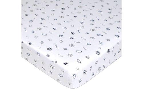 American Baby American Baby Knit Porta Crib Sheet In Gray-Navy Sports