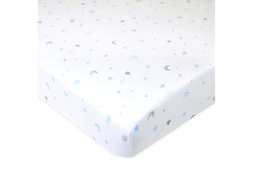 American Baby American Baby Knit Porta Crib Sheet In Blue-Stars-Moon
