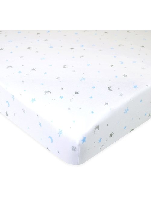 American Baby American Baby Knit Porta Crib Sheet In Blue-Stars-Moon