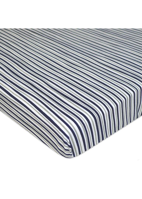 American Baby American Baby Knit Porta Crib Sheet In Grey-Navy-Fun Strip