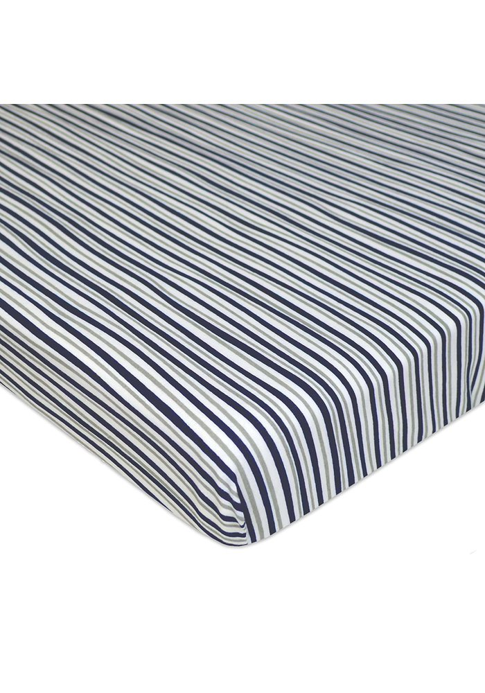 American Baby Knit Porta Crib Sheet In Grey-Navy-Fun Strip