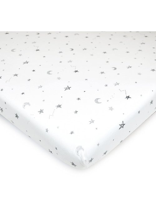 American Baby American Baby Knit Porta Crib Sheet In Grey-Stars-Moon