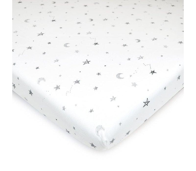 American Baby Knit Porta Crib Sheet In Grey-Stars-Moon