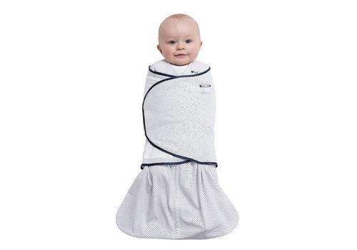 Halo Halo Sleepsack Swaddle 100% Cotton Navy Pin Dot In Newborn