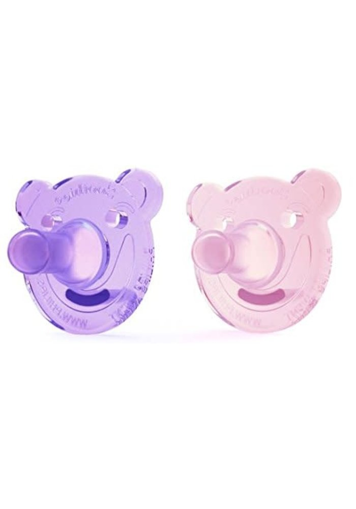 Philips AVENT Soothie Bear Shape Pacifier, 0-3 Month Pink/Purples, 2-Pack,