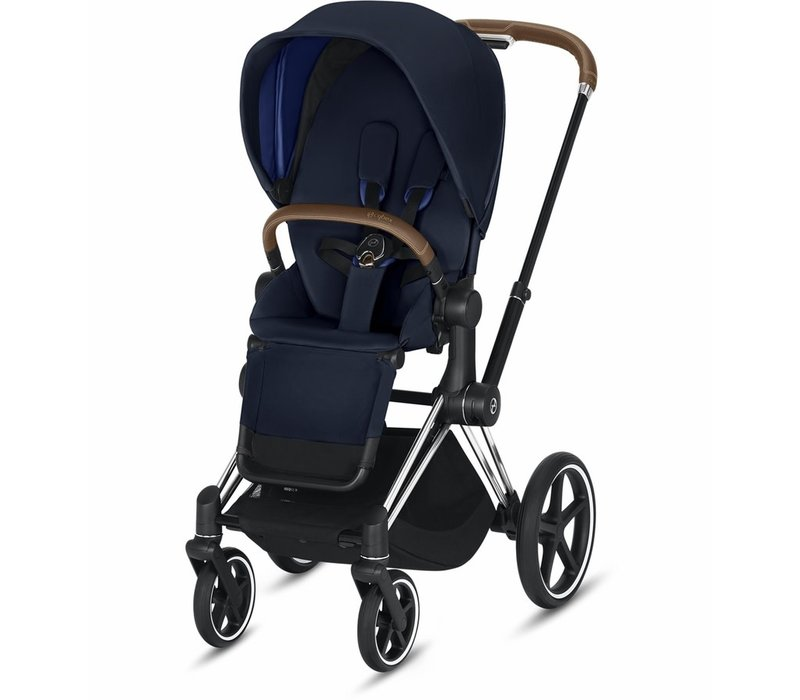 2020 Cybex Priam 3 Stroller - Chrome/Brown/Indigo Blue