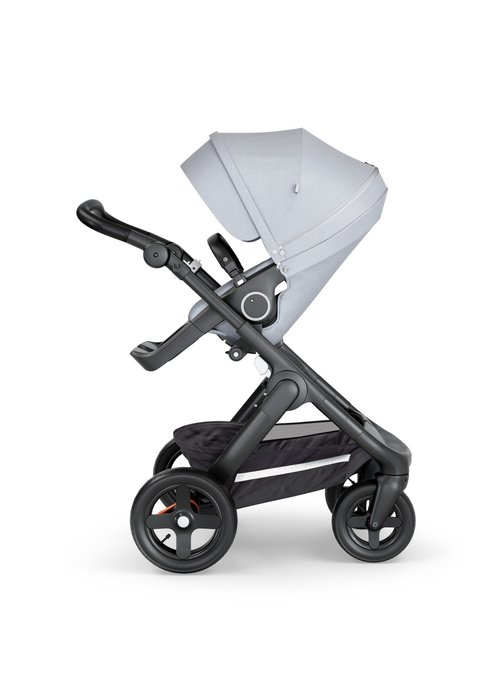 Stokke Stokke Trailz Black Frame- Black Handle Stroller With Terrain Wheels Grey Melange