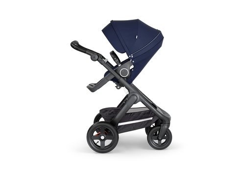 Stokke Stokke Trailz Black Frame- Black Handle Stroller With Terrain Wheels Deep Blue