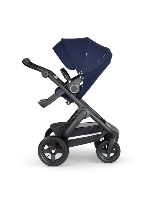 Stokke Stokke Trailz Black Frame- Black Handle Stroller With Terrain Wheels Deep Blue