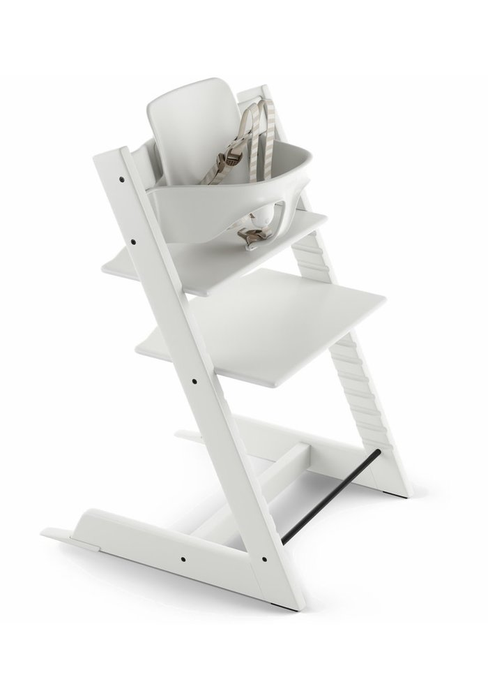 Stokke Tripp Trapp High Chair Set- In White (Includes, Chair, Baby Set, Tray)