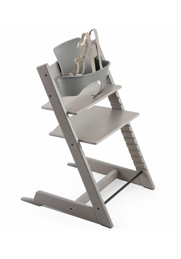 Stokke Tripp Trapp High Chair Set- In Oak Greywash (Includes, Chair, Baby Set, Tray)