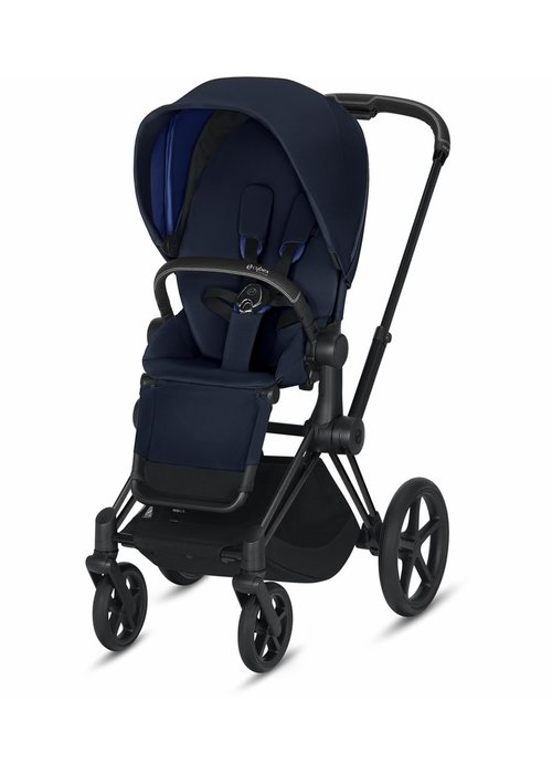 Cybex 2020 Cybex ePriam Matte Black frame + Indigo Blue Seat