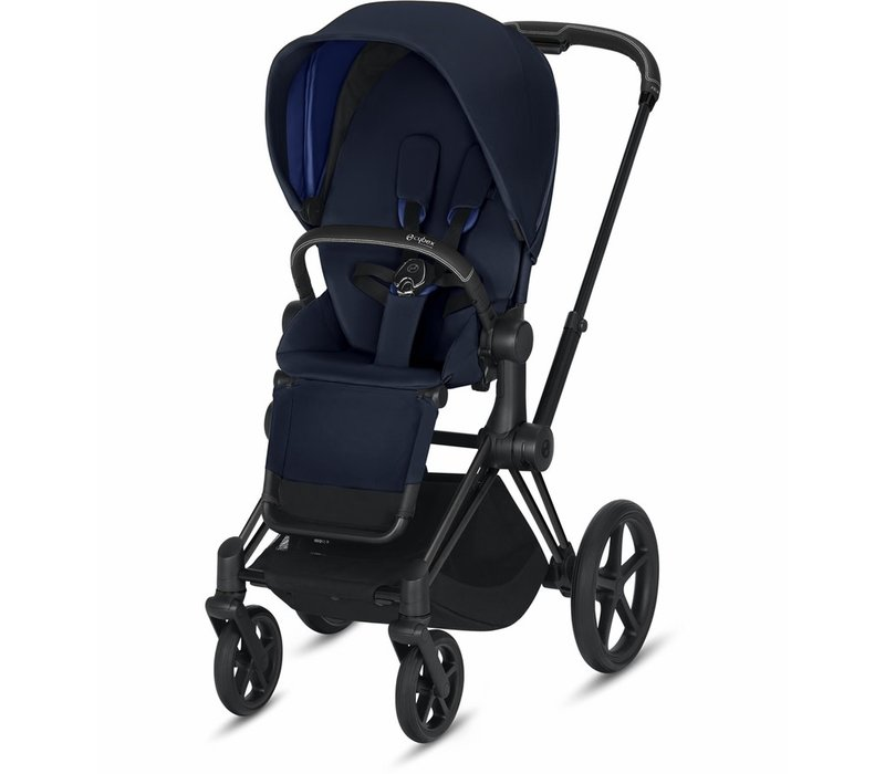 2020 Cybex ePriam Matte Black frame + Indigo Blue Seat