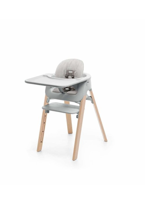 Stokke Stokke Steps High Chair Complete - Natural Legs With Grey Seat And Grey Cushion