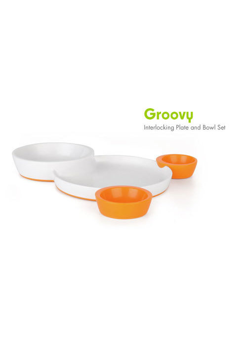Boon CLOSEOUT!!!! Boon Groovy Intelocking Plate & Bowl Set