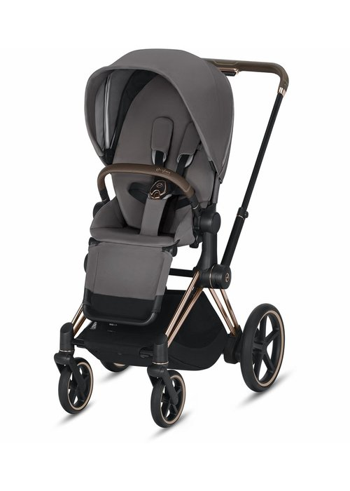 Cybex 2020 Cybex ePriam Rose Gold frame + Manhatten Grey Seat