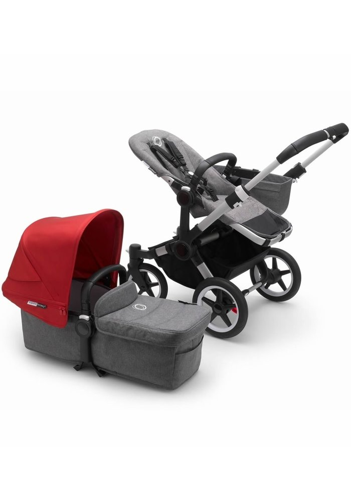 Bugaboo Donkey3 Mono Complete Stroller - Aluminum/Grey Melange/Red