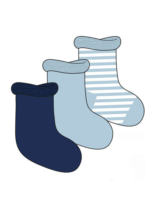 Play Tots Play Tots Infant Socks 3 In A Pack 0-3 Months In Blue