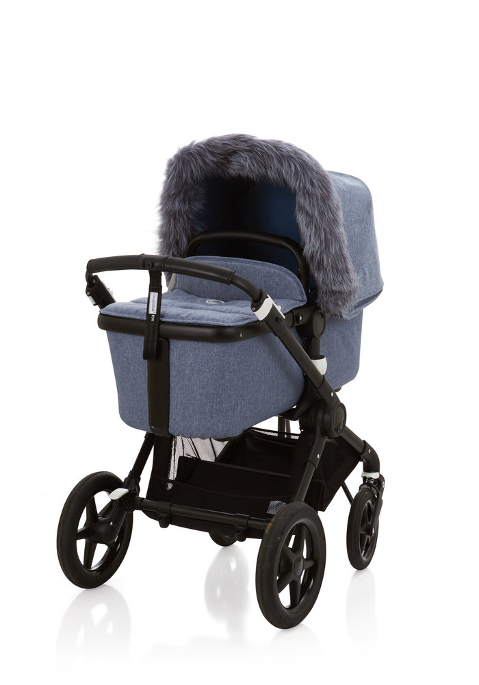 Baby Frr Fur For Stroller In Blue Melange (Silver Fox)