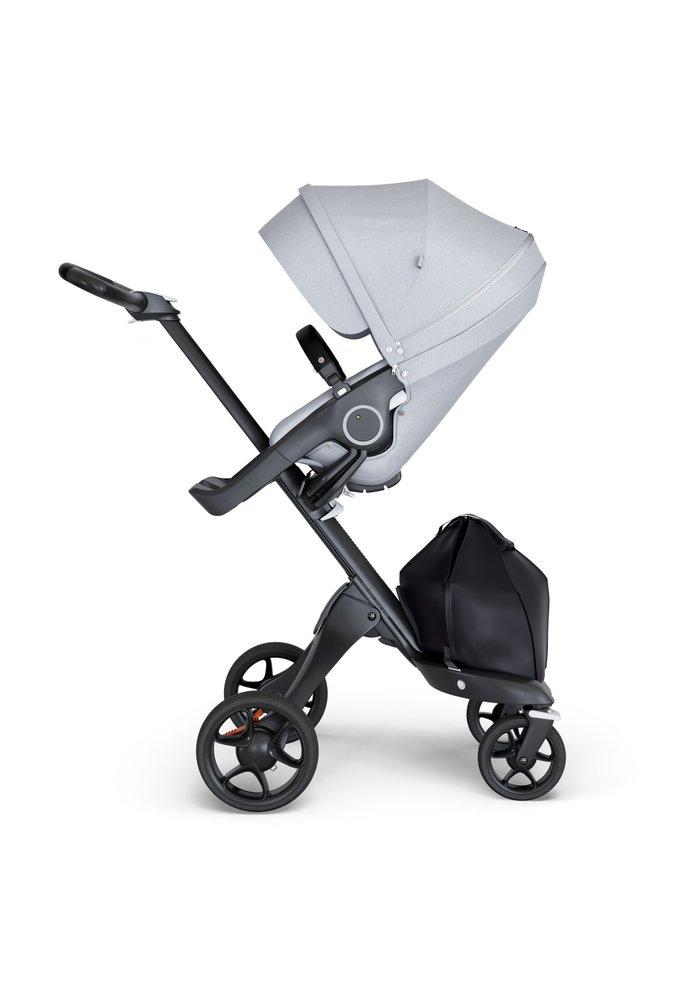 Stokke Xplory Black Chassis -Stroller Seat Grey Melange and Black Handle