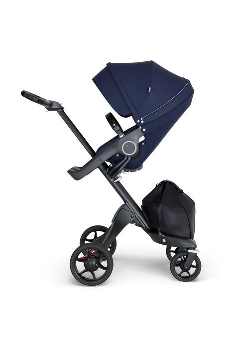 Stokke Stokke Xplory Black Chassis -Stroller Seat Deep Blue and Black Handle